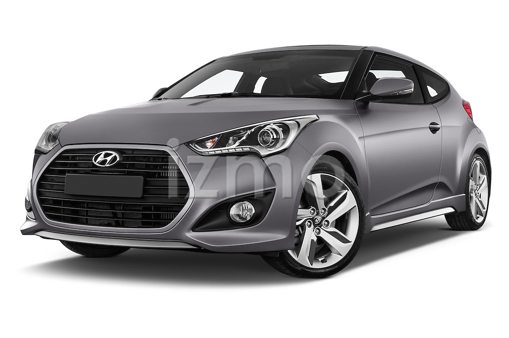 Stock pictures of low aggressive front three quarter view of2015 Hyundai Veloster Turbo 3 Door Hatchback Low Aggressive