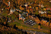 Aerial photography over Charlotte, NC, and the surrounding areas from November 2009. Photos by Charlotte photographer Patrick Schneider Photography. Photo of chapel and campus of Belmont Abbey College surrounded by the colorful pallet of the changing leaves in fall.