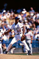 Ramon Martinez of the Los Angeles Dodgers participates in a Major League Baseball game at Dodger Stadium during the 1998 season in Los Angeles, California. (Larry Goren/Four Seam Images)