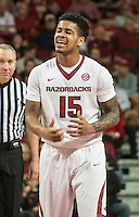 NWA Democrat-Gazette/ANTHONY REYES • @NWATONYR<br /> Anton Beard, Arkansas freshman, laments a foul call against Tennesse in the second half Tuesday Jan. 27, 2015 at Bud Walton Arena in Fayetteville. The Razorbacks won 69-64.