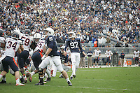 State College, PA - 11/02/2013:  Sam Ficken (97) kicks the extra point to give PSU a 7-point lead in the overtime period.  Penn State defeated Illinois by a score of 24-17 in overtime on Saturday, November 2, 2013, at Beaver Stadium.<br /> <br /> Photos by Joe Rokita / JoeRokita.com