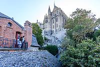France, Manche, Mont Saint Michel bay, listed as World Heritage by UNESCO, The Mont-Saint Michel, one-bedroom hotel balcony overlooking the abbey // France, Manche (50), Baie du Mont Saint-Michel, classée Patrimoine Mondial de l'UNESCO, Le Mont Saint-Michel, balcon d'une chambre d'hôtel donnant sur l'abbaye