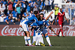 Ruben Perez of Deportivo Leganes celebrates with teammates during their La Liga match between Deportivo Leganes and Sevilla FC at the Butarque Municipal Stadium on 15 October 2016 in Madrid, Spain. Photo by Diego Gonzalez Souto / Power Sport Images