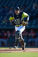 Columbia Fireflies catcher Hayden Senger (15) on defense against the Rome Braves at Segra Park on May 13, 2019 in Columbia, South Carolina. The Fireflies walked-off the Braves 2-1 in game one of a doubleheader. (Brian Westerholt/Four Seam Images)
