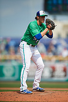 Hartford Yard Goats relief pitcher Brian Moran (23) gets ready to deliver a pitch during a game against the Trenton Thunder on August 26, 2018 at Dunkin' Donuts Park in Hartford, Connecticut.  Trenton defeated Hartford 8-3.  (Mike Janes/Four Seam Images)