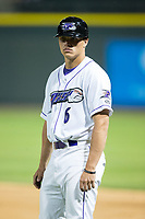Alex Call (6) of the Winston-Salem Dash coaches first base during the game against the Myrtle Beach Pelicans at BB&T Ballpark on May 11, 2017 in Winston-Salem, North Carolina.  The Pelicans defeated the Dash 9-7.  (Brian Westerholt/Four Seam Images)