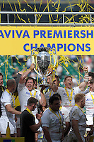 Alex Goode and David Strettle of Saracens lift the trophy after winning the Aviva Premiership Rugby Final at Twickenham Stadium on Saturday 30th May 2015 (Photo by Rob Munro)