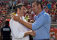 July 20, 2013: The New York Red Bulls head coach Mike Petke meets with Toronto FC head coach Ryan Nelsen during the opening ceremonies in a game between Toronto FC and the New York Red Bulls at BMO Field in Toronto, Ontario Canada.<br /> The game ended in a 0-0 draw.