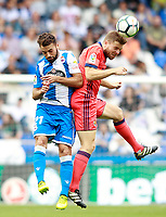 Deportivo de la Coruna's Bruno Gama (l) and Real Sociedad's Inigo Martinez during La Liga match. September 10,2017.  *** Local Caption *** © pixathlon<br /> Contact: +49-40-22 63 02 60 , info@pixathlon.de