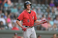 Center fielder Luis Gonzalez (6) of the Kannapolis Intimidators bats in a game against the Greenville Drive on Wednesday, July 12, 2017, at Fluor Field at the West End in Greenville, South Carolina. Greenville won, 12-2. (Tom Priddy/Four Seam Images)