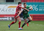 Connacht's Matt Healy is tackled by Scarlets' Harry Robinson<br /> <br /> Rugby - Scarlets V Connacht - Guinness Pro12 - Sunday 15th Febuary 2015 - Parc-y-Scarlets - Llanelli<br /> <br /> © www.sportingwales.com- PLEASE CREDIT IAN COOK
