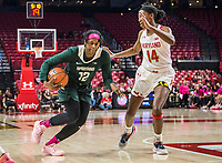 COLLEGE PARK, MD - FEBRUARY 03: Nia Hollie #12 of Michigan State moves past Diamond Miller #14 of Maryland during a game between Michigan State and Maryland at Xfinity Center on February 03, 2020 in College Park, Maryland.