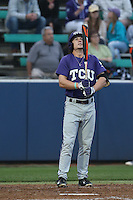 Cody Jones (1) of the TCU Horned Frogs bats during a game against the Loyola Marymount Lions at Page Stadium on March 16, 2015 in Los Angeles, California. TCU defeated Loyola, 6-2. (Larry Goren/Four Seam Images)