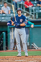 Cal Raleigh (29) of the Tacoma Rainiers at bat against the Salt Lake Bees at Smith's Ballpark on May 13, 2021 in Salt Lake City, Utah. The Rainiers defeated the Bees 15-5. (Stephen Smith/Four Seam Images)