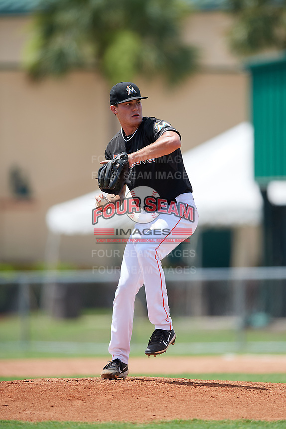 GCL Marlins relief pitcher Cam Baird (36) delivers a pitch during a game against the GCL Cardinals on August 4, 2018 at Roger Dean Chevrolet Stadium in Jupiter, Florida.  GCL Marlins defeated GCL Cardinals 6-3.  (Mike Janes/Four Seam Images)