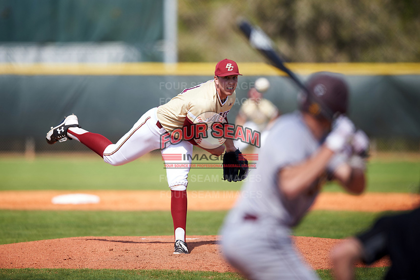 Boston College Eagles starting pitcher Jacob Stevens (44) follows through on a pitch during a game against the Central Michigan Chippewas on March 3, 2017 at North Charlotte Regional Park in Port Charlotte, Florida.  Boston College defeated Central Michigan 5-4.  (Mike Janes/Four Seam Images)