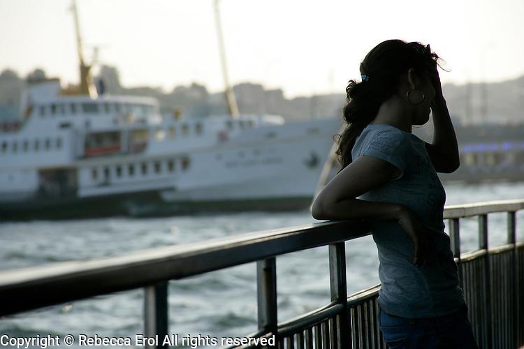 Girl on a ferry, Istanbul, Turkey