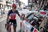 Gerben Thijssen (BEL/Lotto-Soudal) felicitated after finishing 2nd place<br /> <br /> Heistse Pijl 2020<br /> One Day Race: Heist-op-den-Berg > Heist-op-den-Berg 190km  (UCI 1.1)<br /> ©kramon