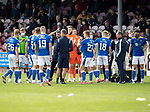 Arbroath v St Johnstone…15.08.21  Gayfield Park      Premier Sports Cup<br />Saints boss Callum Davidson talks with his players after extra time to decide on the penalty takers<br />Picture by Graeme Hart.<br />Copyright Perthshire Picture Agency<br />Tel: 01738 623350  Mobile: 07990 594431