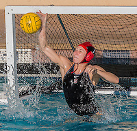 Stanford, CA; Sunday February 7, 2016; Women's Water Polo, Stanford vs LMU; Anna Yelizarova substitutes as goal keeper during the fourth quarter.