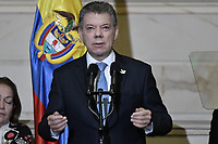 BOGOTÁ -COLOMBIA. 20-07-2017: Juan Manuel Santos, presidente de Colombia, durante su intervención en la ceremonia de instalación de la legislatura 2017 2018 del Congreso de la República de Colombia realizado hoy, 20 de julio de 2017, en el salón Elíptico del Capitolio Nacional de Colombia en la ciudad de Bogotá. / Juan Manuel Santos, president of Colombia, during his spech in the ceremony of installation of the Legistature 2017 2018 of the Congress of the Republic of Colombia made today, July 20 2017, at Ellipptical room of the National Capitol of Colombia in Bogota city. Photo: VizzorImage/ Gabriel Aponte / Staff