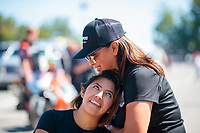 Sep 15, 2019; Mohnton, PA, USA; NHRA pro stock motorcycle rider Jianna Salinas with mother Monica Salinas during the Reading Nationals at Maple Grove Raceway. Mandatory Credit: Mark J. Rebilas-USA TODAY Sports