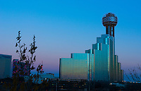 Dallas Texas convention center skyline at sunset twilight night exposure in downtown Dallas city