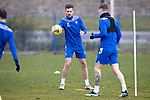 St Johnstone Training....30.04.21<br />Callum Booth pictured with Jason Kerr during training at McDiarmid Park ahead of tomorrows game at Hibs.<br />Picture by Graeme Hart.<br />Copyright Perthshire Picture Agency<br />Tel: 01738 623350  Mobile: 07990 594431