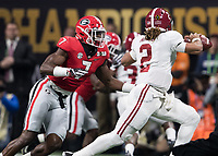 Atlanta, GA - January 8, 2018: The University of Georgia Bulldogs play the University of Alabama Crimson Tide for the National Championship at Mercedes-Benz Stadium.
