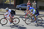 The breakaway group arrive in St-Quentin during the 113th edition of the Paris-Roubaix 2015 cycle race held over the cobbled roads of Northern France. 12th April 2015.<br /> Photo: Eoin Clarke www.newsfile.ie