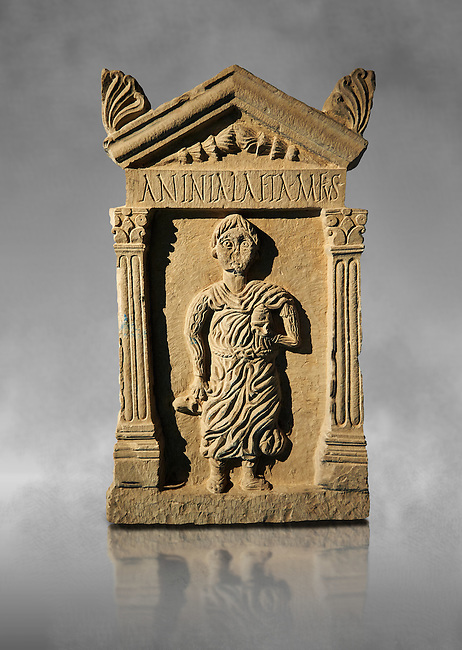Second century Roman funerary stele dedicated to Anninia Laeta from the cemetery of Thuburbo Majus a city of the Roman province of Africa Proconsularis, in present day Tunisia. The Bardo National Museum , Tunis, Tunisia. Against a grey art background.