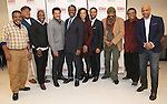 Ray Anthony Thomas; Keith Randolph Smith, Michael Potts, Brandon Dirden, John Douglas Thompson, Carra Patterson, Andre Holland, Anthony Chisholm, Harvy Blanks and Ruben Santiago-Hudson attend the the cast photo call for the MTC production of 'Jitney' at the MTC Rehearsal Studios on November 29, 2016 in New York City