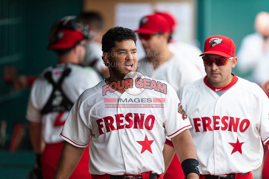 Fresno Grizzlies catcher Raudy Reed (26) celebrates after hitting a walk-off double during a game against the Reno Aces at Chukchansi Park on April 8, 2019 in Fresno, California. Fresno defeated Reno 7-6. (Zachary Lucy/Four Seam Images)