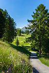 Italy, South Tyrol (Trentino - Alto Adige), Dolomites, Val Gardena: rural road above Selva di Val Gardena | Italien, Suedtirol (Trentino - Alto Adige), Dolomiten, Groednertal: einsame Landstrasse oberhalb von Wolkenstein in Groeden