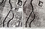 August, 1945 : Hiroshima, Japan - Aerial photo of before and after of atomic bombing of Hiroshima during the Pacific campaigns of World War II. (Photo by Kingendai Photo Library/AFLO)