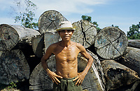 CAMBODIA, Mekong region, Stung Treng, logging of rainforest, logger camp, worker infront of tree trunks