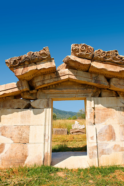 The  Pediment of the Greek 3-2 cent B.C Temple of Artimis, Magnesia on the Meander arcaeological site, Turkey