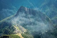 Ruins of a 15th-century Inca citadel town of Machu Picchu, located in the Eastern Cordillera of southern Peru.