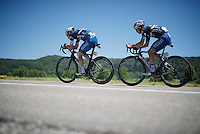 today's dynamic duo: Tony Martin (DEU/Etixx-Quickstep) & Julian Alaphilippe (FRA/Etixx-QuickStep), outrunning the peloton for more than 170km's... <br /> <br /> stage 16: Morain-en-Montagne to Bern (SUI) / 209km<br /> 103rd Tour de France 2016