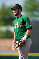 Savannah Sand Gnats first baseman Jon Leroux (33) on defense against the Hickory Crawdads at L.P. Frans Stadium on June 14, 2015 in Hickory, North Carolina.  The Crawdads defeated the Sand Gnats 8-1.  (Brian Westerholt/Four Seam Images)