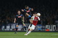 Napoli's Lorenzo Insigne and Arsenal's Lucas Torreira<br /> <br /> Photographer Rob Newell/CameraSport<br /> <br /> UEFA Europa League First Leg - Arsenal v Napoli - Thursday 11th April 2019 - The Emirates - London<br />  <br /> World Copyright © 2018 CameraSport. All rights reserved. 43 Linden Ave. Countesthorpe. Leicester. England. LE8 5PG - Tel: +44 (0) 116 277 4147 - admin@camerasport.com - www.camerasport.com