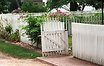 White picket fence with gate Colonial Williamsburg Virginia, Fine Art Photography by Ron Bennett, Fine Art, Fine Art photography, Art Photography, Copyright RonBennettPhotography.com ©