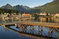 Fishing boats in the harbor of the Coastal town of Sitka in southeast Alaska
