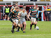 20th February 2021; Welford Road Stadium, Leicester, Midlands, England; Premiership Rugby, Leicester Tigers versus Wasps; Hanro Liebenberg of Leicester Tigers  and Ben Harris of Wasps  chase after a loose ball