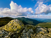 Northern Presidential Range from Clay Loop Trail in Thompson and Meserve's Purchase in the New Hampshire White Mountains on a cloudy day.