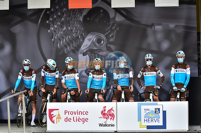 AG2R La Mondiale at sign on before La Fleche Wallonne 2020, running 202km from Herve to Mur de Huy, Belgium. 30th September 2020.<br /> Picture: ASO/Gautier Demouveaux | Cyclefile<br /> All photos usage must carry mandatory copyright credit (© Cyclefile | ASO/Gautier Demouveaux)