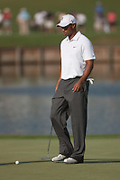 PONTE VEDRA BEACH, FL - MAY 6: Tiger Woods approaches a putt on the 16th green during his practice round on Wednesday, May 6, 2009 for the Players Championship, beginning on Thursday, at TPC Sawgrass in Ponte Vedra Beach, Florida.