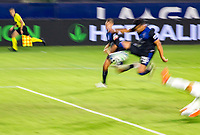 CARSON, CA - OCTOBER 14: Andres Rios #25 of the San Jose Earthquakes takes a shot and scores a goal during a game between San Jose Earthquakes and Los Angeles Galaxy at Dignity Heath Sports Park on October 14, 2020 in Carson, California.