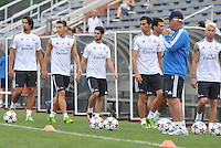 Saint Louis, MO August 1 2013<br /> Head Coach Carlos Ancelotti watches players practice.<br /> Real Madrid practiced at Herman Stadium on the campus of Saint Louis University ahead of their international friendly with Inter Milan at the Edward Jones Dome.