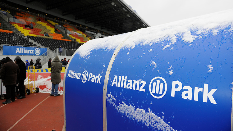 20130324 Copyright onEdition 2013©.Free for editorial use image, please credit: onEdition..Allianz Park branding during the Premiership Rugby match between Saracens and Harlequins at Allianz Park on Sunday 24th March 2013 (Photo by Rob Munro)..For press contacts contact: Sam Feasey at brandRapport on M: +44 (0)7717 757114 E: SFeasey@brand-rapport.com..If you require a higher resolution image or you have any other onEdition photographic enquiries, please contact onEdition on 0845 900 2 900 or email info@onEdition.com.This image is copyright onEdition 2013©..This image has been supplied by onEdition and must be credited onEdition. The author is asserting his full Moral rights in relation to the publication of this image. Rights for onward transmission of any image or file is not granted or implied. Changing or deleting Copyright information is illegal as specified in the Copyright, Design and Patents Act 1988. If you are in any way unsure of your right to publish this image please contact onEdition on 0845 900 2 900 or email info@onEdition.com